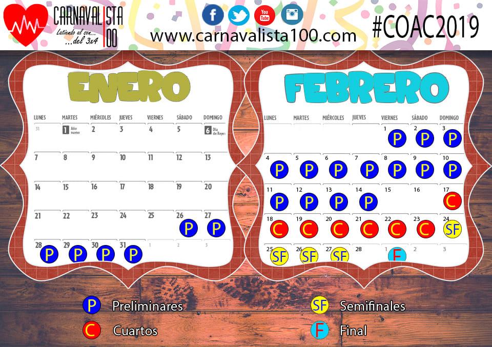 Fechas COAC 2019